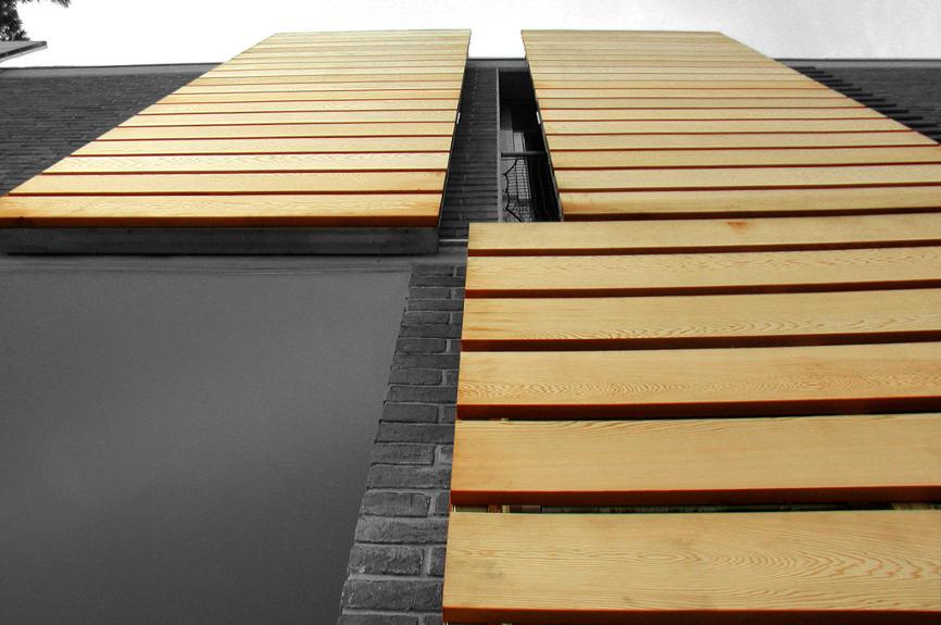 aperture in legno ristrutturazione casa bifamiliare studio architettura cesena