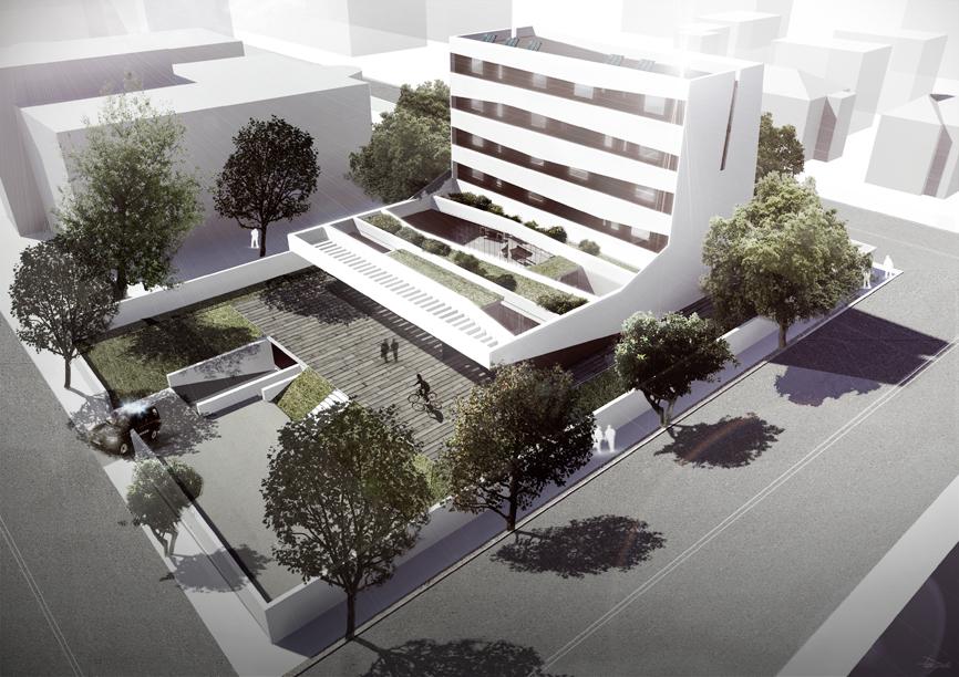 render bird view car edificio idee studio architettura cesena