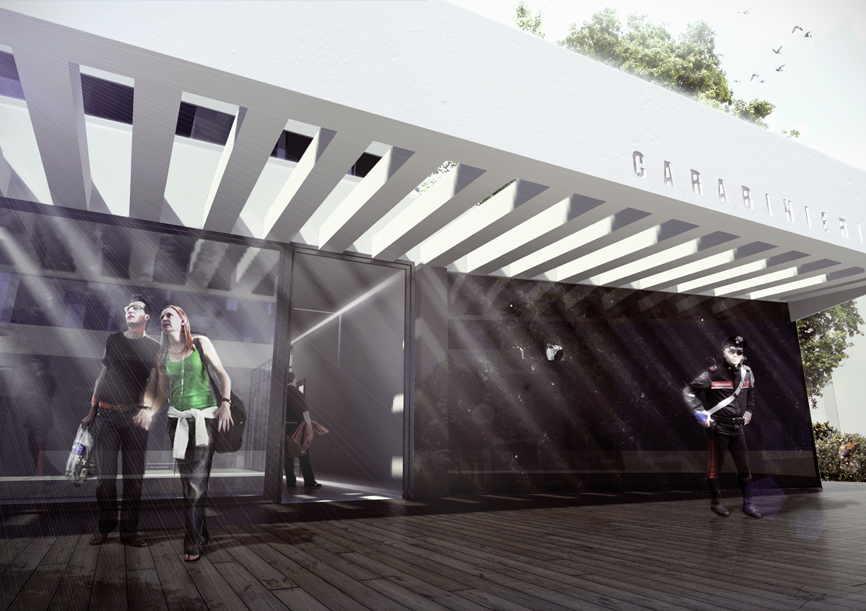 render ingresso car edificio idee studio architettura cesena