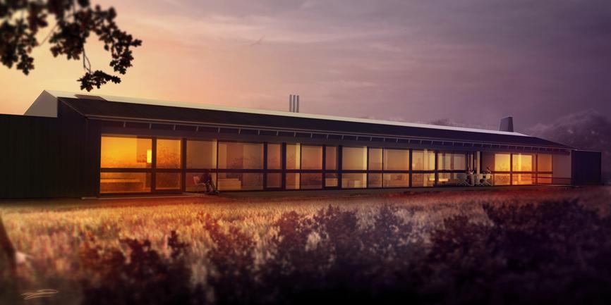render notte esterno casa villa unifamiliare studio architettura cesena